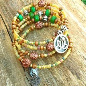 Turquoise lotus beaded bracelet inpiration